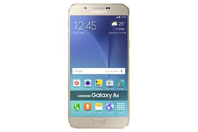 bagian depan HP Samsung Galaxy A8