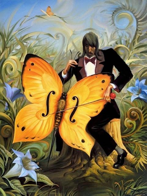 Musiker med butterfly spiller på sommmerfugl-cello