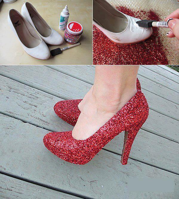 Como fazer sapatos com glitter