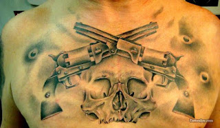 Death tattoo: a skull, two pistols and several gunshot wounds