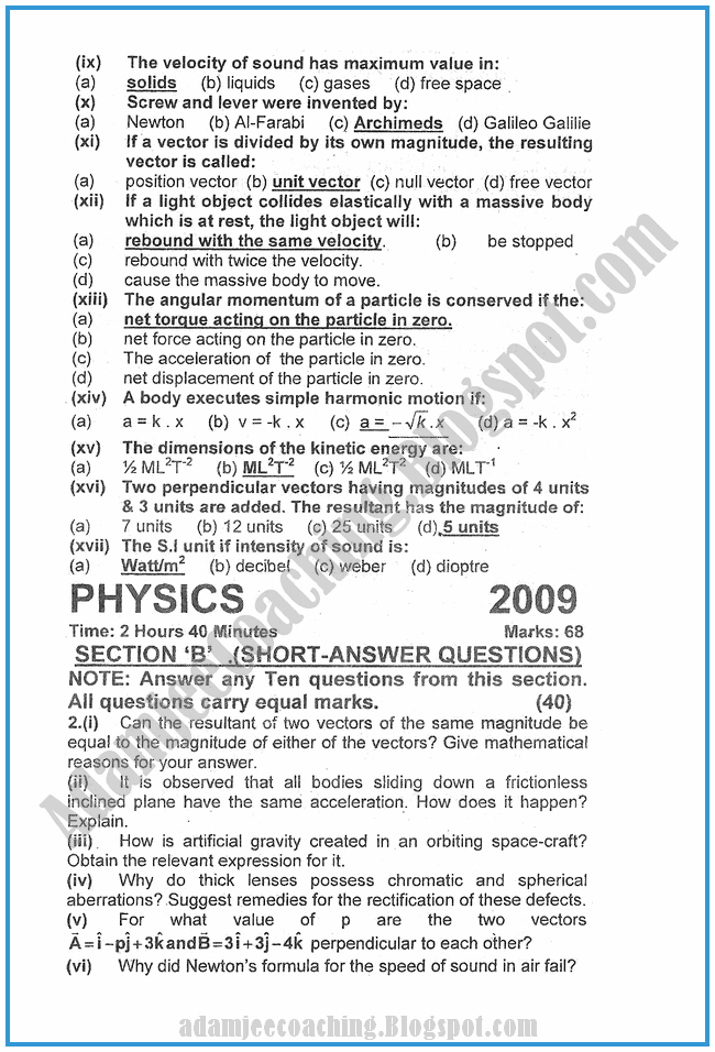 Physics-2009-past-year-paper-class-XI