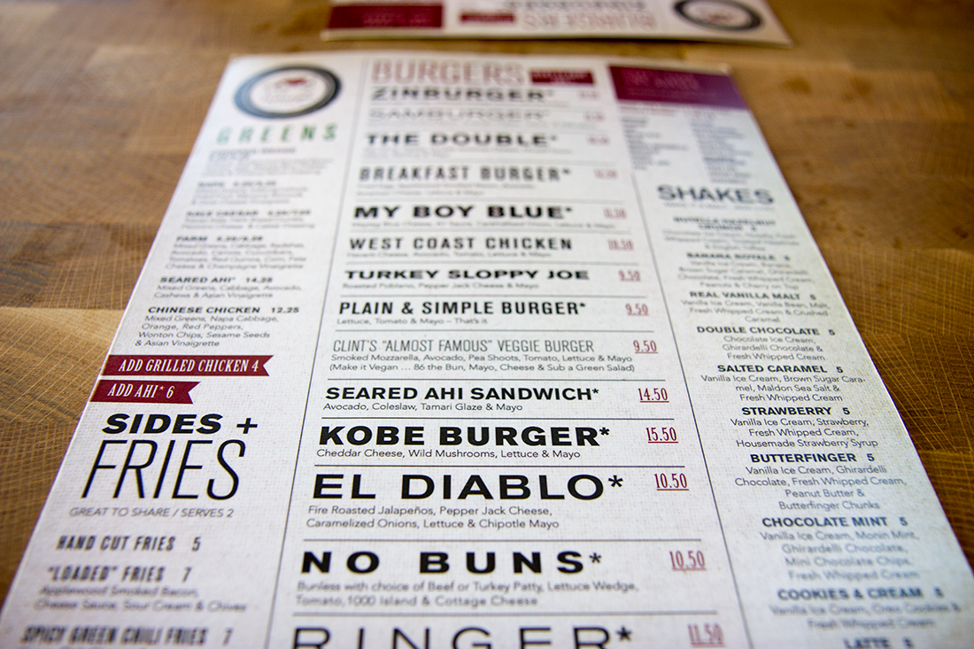 Zinburger menu