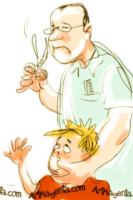Barber phobia is a drawing done on an iphone by artist and illustrator Artmagenta