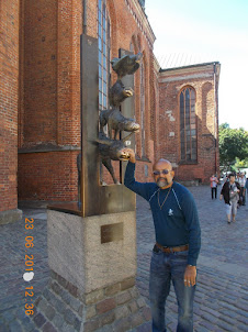 Outside St Peter's Church in Riga Old Town.