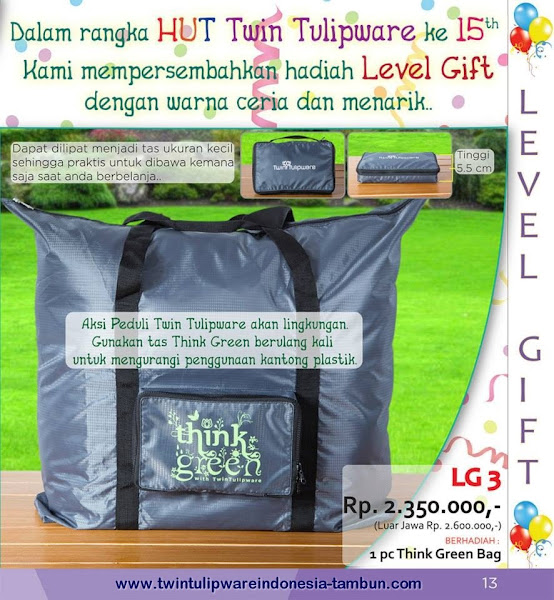 Level Gift Twin Tulipware Mei - Juni 2015, Tulip Shopping Bag