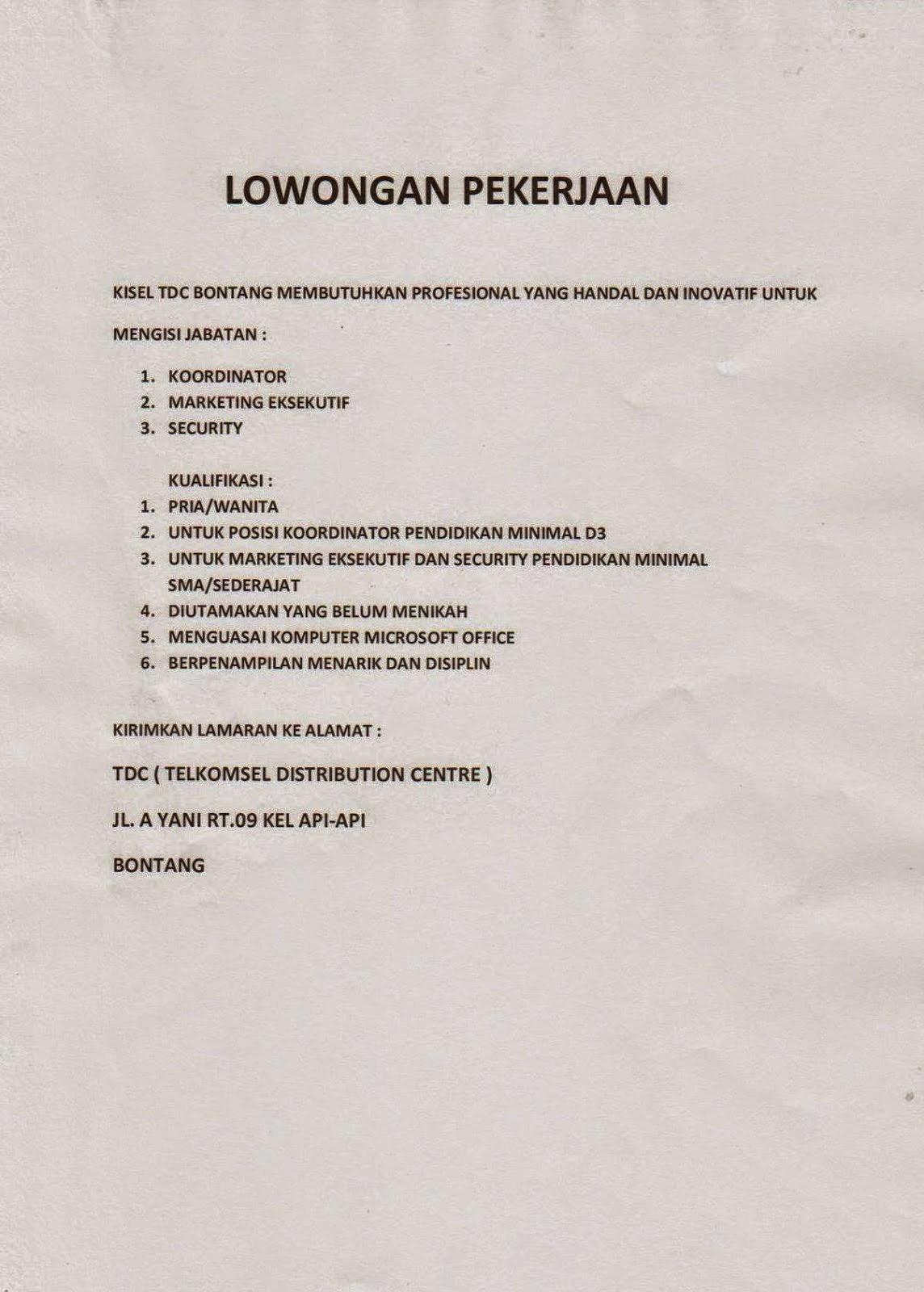 Lowongan Kerja KISEL TDC Bontang