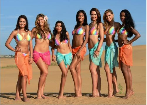 Delegates of Miss World 2012 during the Beach Beauty Competition