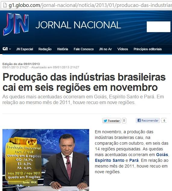 Queda na produção nos estados governados por Alckmin (SP) ,Anastasia(pupilo de Aecio)(MG),Beto Richa(PR),Marconi Perilo(GO) e Jatene(PA)