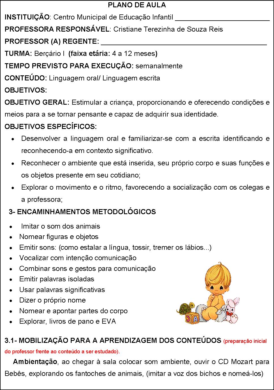 Plano de aula na educação infantil