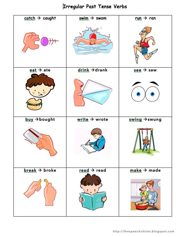 Verbs For Kids Past tense verbs printable