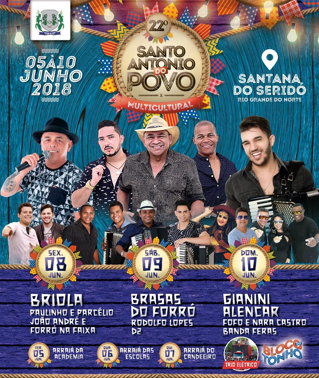 22º SANTO ANTÔNIO DO POVO DE 05 Á 10 DE JUNHO!
