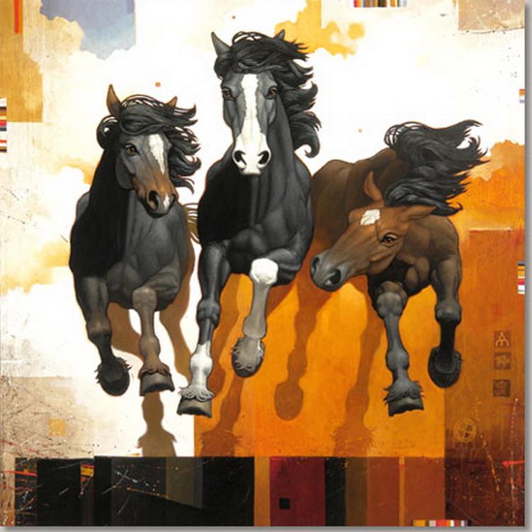 Im genes arte pinturas vistosos caballos en cuadros - Cuadros contemporaneos ...