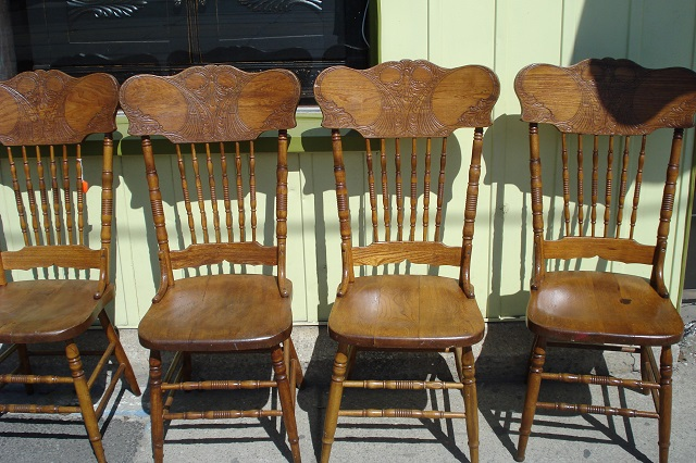 Set of 4 High Back Press Back Chairs ~ Pair of Lady Figure Lamps ~  Coca-Cola Box - Custom Antiques: Set Of 4 High Back Press Back Chairs ~ Pair Of Lady