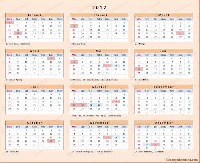 kalender 2012 indonesia