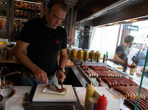 """The World famous """"Vienna Sausage Hot Dog"""" being prepared."""