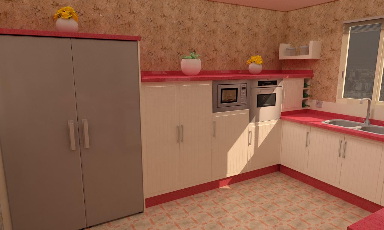 Cocina de estilo rústicoactual Realizada en fibra de DM lacada
