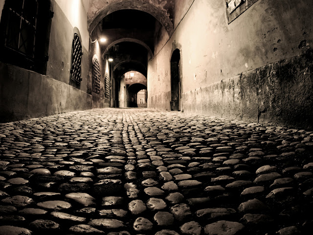 Stone Paving Old Street Night Lighting HD Wallpaper