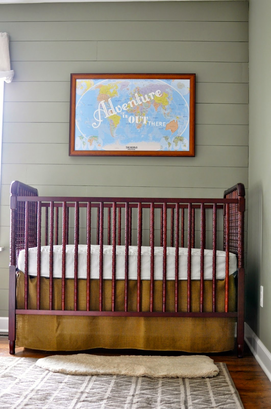 No Sew Crib Skirt. Outdoor Theme Nursery. Planked Wall