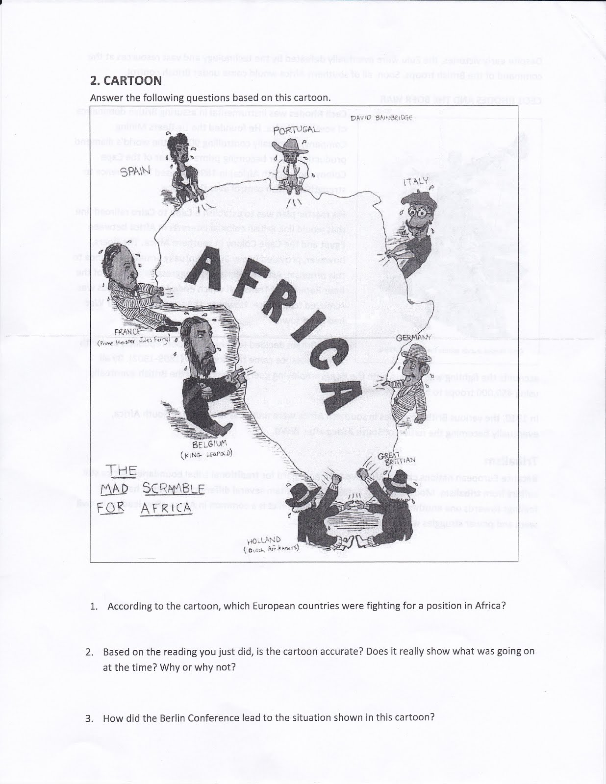 mr izor s akins geography scramble for africa questions