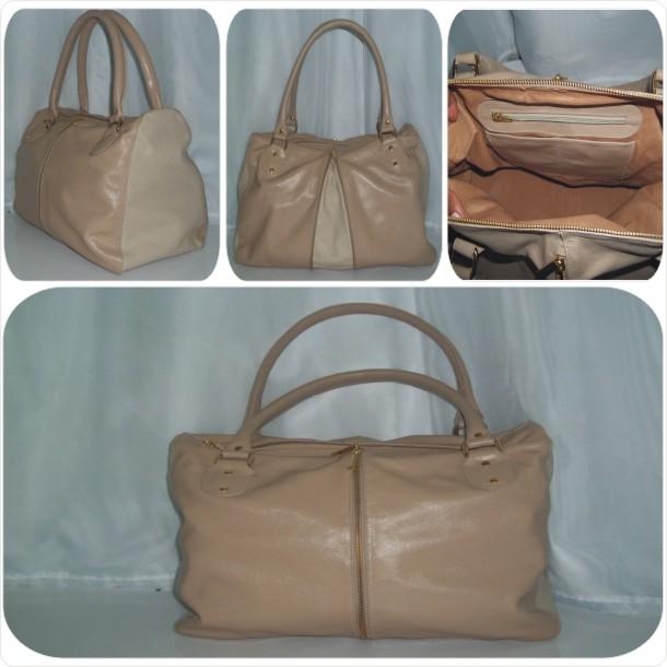 Bolsa em couro liso com abertura frontal (Aumenta no tamanho) detalhes em couro texturizado: Cód. 3005