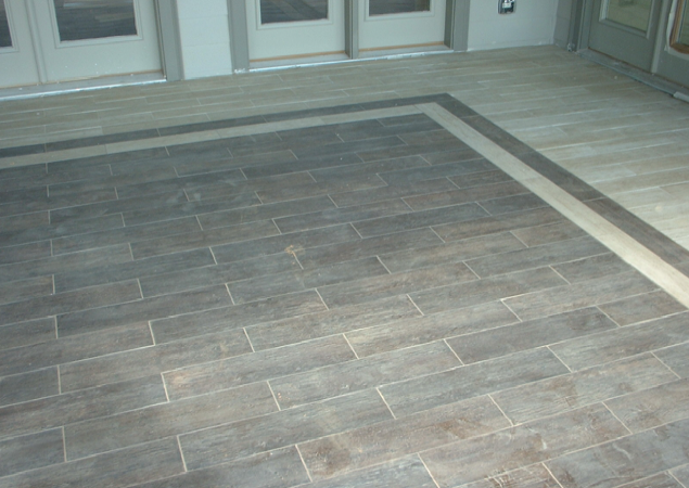 White gold wood tile for Covered porch flooring options
