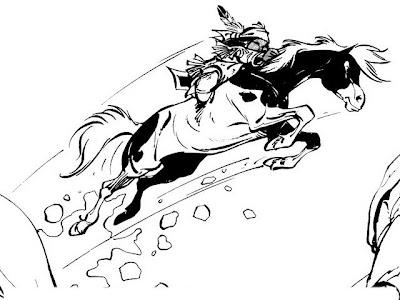 Yakari saltando en caballo para colorear ~ 4 Dibujo