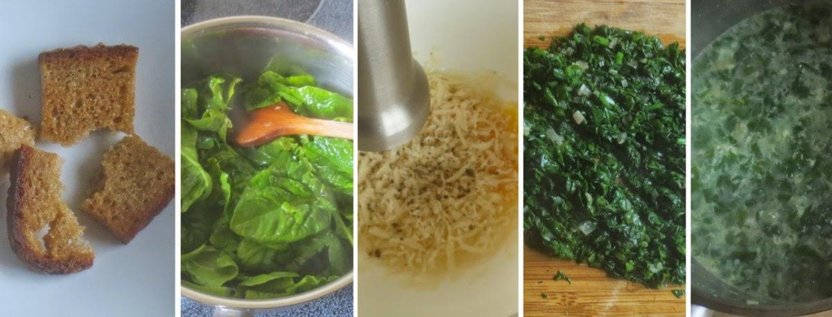 Zubereitung Spinatsuppe mit Parmesan