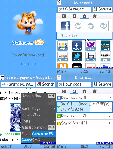 UC Browser Cloud V8.5.0.185 (Build12082909) for Corby 2 S3850