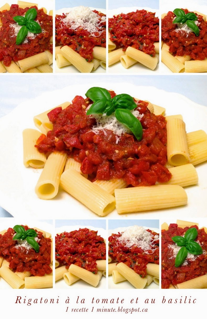 1 recette de p te alimentaire rigatoni la tomate et au basilic garnis de parmigiano reggiano. Black Bedroom Furniture Sets. Home Design Ideas