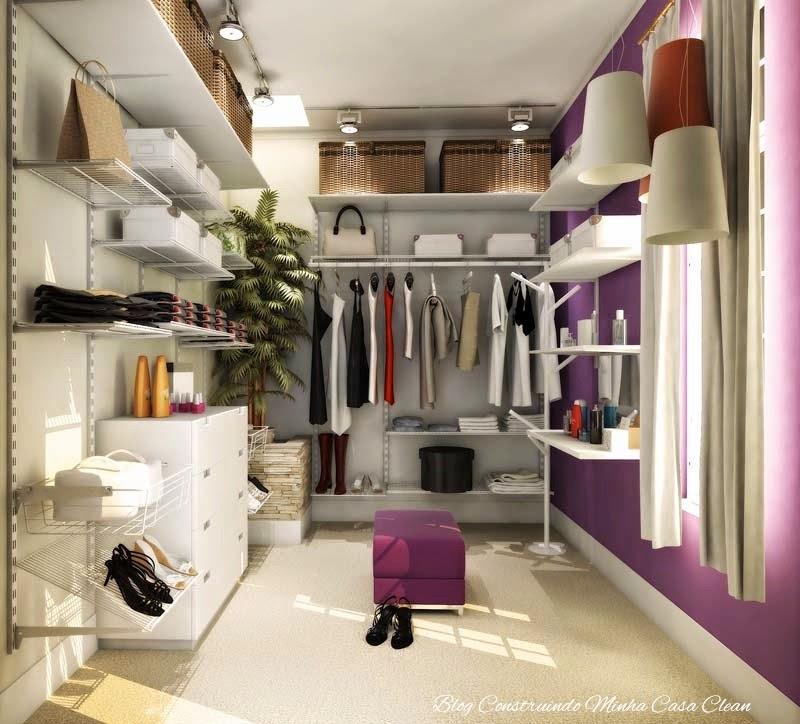 Construindo Minha Casa Clean Closet Com ou Sem Porta? Modelos Lindos, Pequen -> Closet Com Banheiro Integrado Pequeno