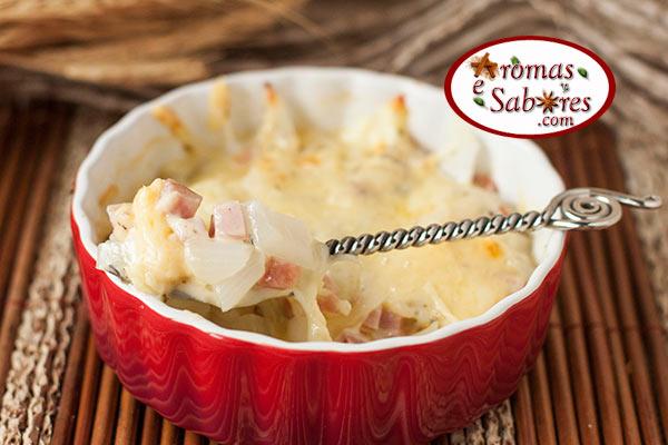 cebola com queijos e lombo