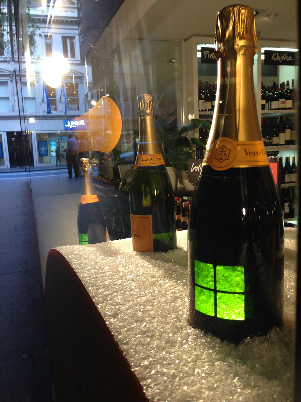 Illuminated Veuve Clicquot Bottle chalet- display design by Objet Bart
