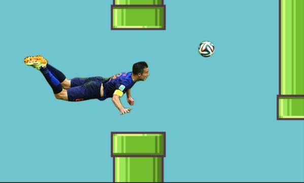 Gambar Meme Gol Van Parsie Belanda vs Spanyol 5-1 Lucu Flappy Bird