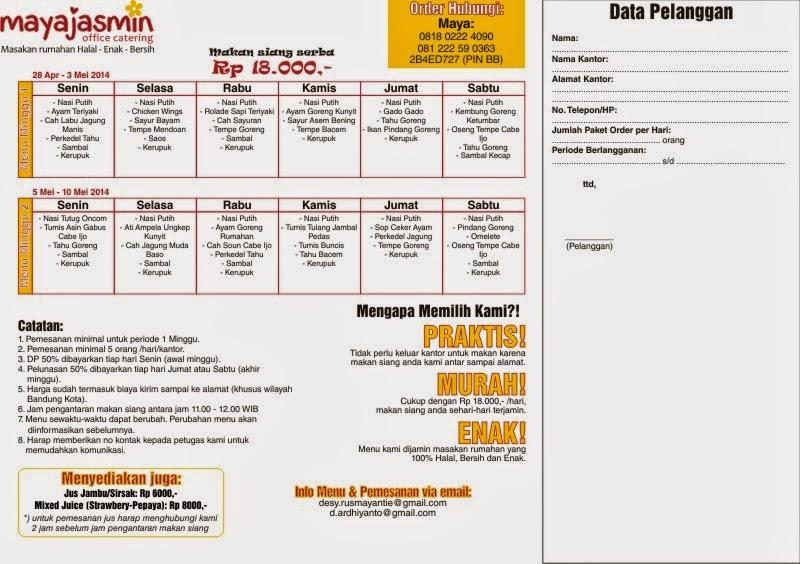 menu catering kantor bandung 28 april