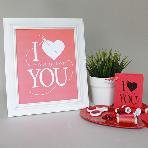 I Heart [Sewing for] You -- Free Printable ready to frame or print as a card | The Inspired Wren