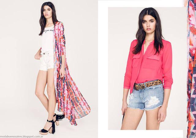 Moda primavera verano 2016. Kimonos largos, shorts y camisas verano 2016, Ossira.