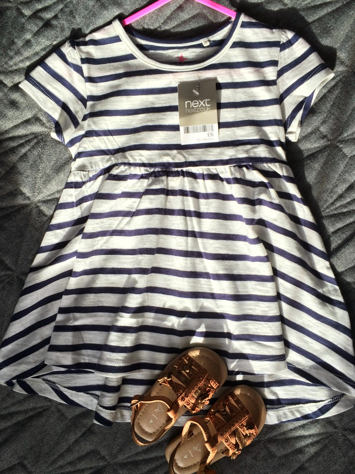 next striped tunic with next leather infant sandals
