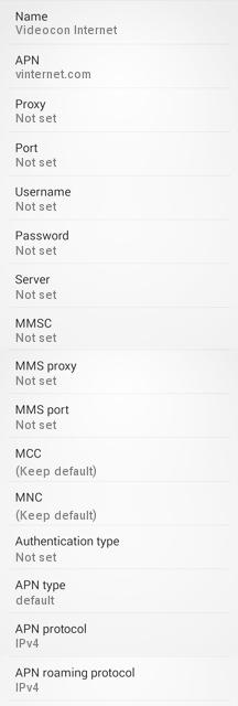 Videocon GPRS Settings for Android /