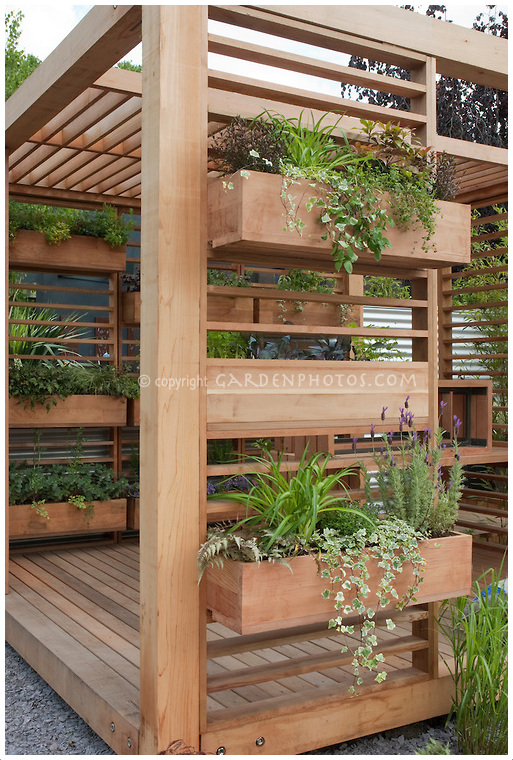 Source susan cohan gardens for Vertical planter boxes