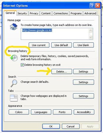 how to clear history on internet explorer