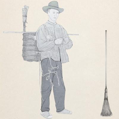 el Granerer, hacia y vendia las escobas, dibujo