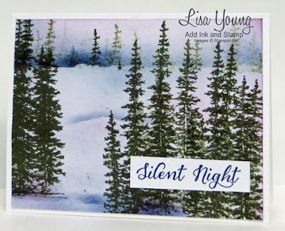 Stampin' Up! Wonderland stamp set. Wintery scene with pine trees. Handmade Christmas card by Lisa Young, Add Ink and Stamp