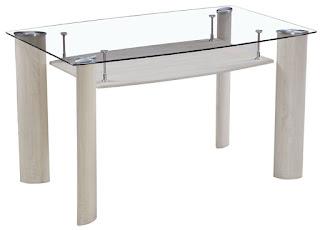 Mesa con estante en acero y cristal
