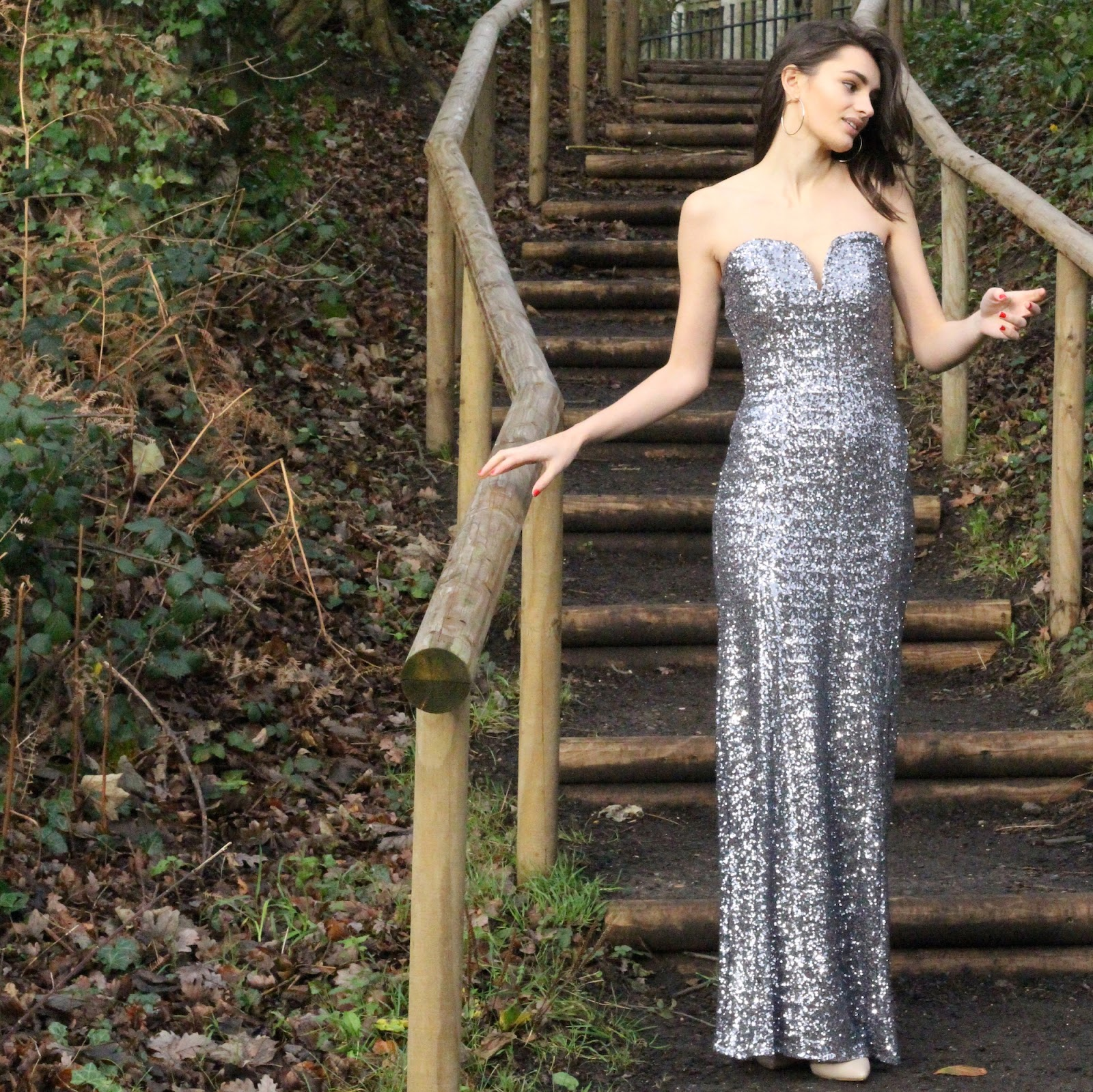peexo fashion blogger wearing sequin maxi dress from tfnc