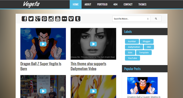 Vegeta - Blogger Template For YouTube & Dailymotion Videos