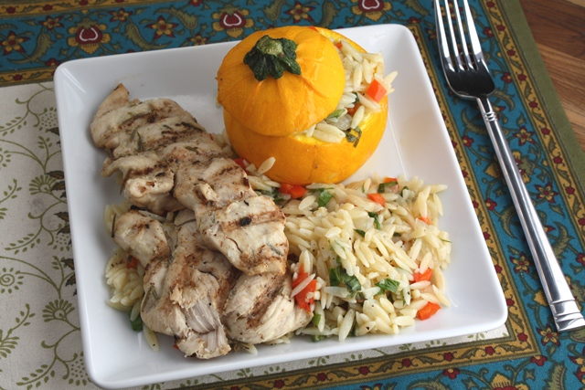 Round Zucchini Stuffed with Lemon Butter Orzo recipe by Barefeet In The Kitchen