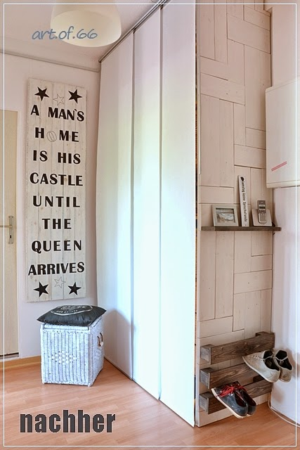 Creative entry with an easy pallet wood shoe storage by Art of 66, featured on ILoveThatJunk.com