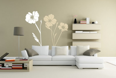 vinyl sticker - Flower-vinyl-wall-decal-for-minimalist-living-room-design