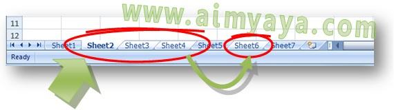 Gambar: Cara memilih atau membuat blok dari beberapa worksheet sekaligus di Microsoft Excel