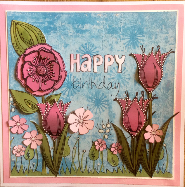 Painted and stamped card by Clare Chervil Paperartsy Lin Brown JOFY